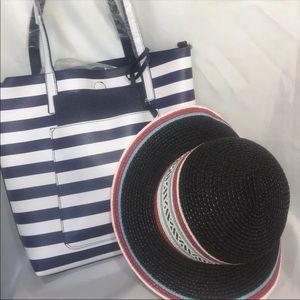 Ladies Nautical Navy Shoulder Bag Plus Hat New